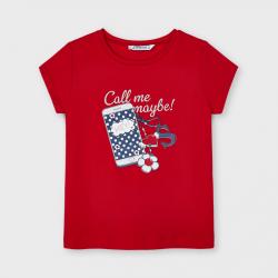 MAYORAL dievčenské tričko s mobilom 3020-012 poppy