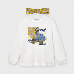 MAYORAL dievčenské tričko a čelenka 3022-082 natural
