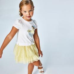 Dievčenské šaty s tylovou sukňou MAYORAL 3916-082 yellow