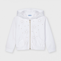 MAYORAL  dievčenská mikina so zdobením 3481-032 white