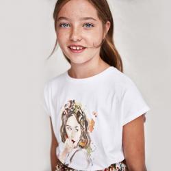 MAYORAL dievčenské tričko s krátkym rukávom 6014-076 natural