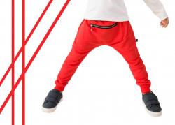 Bavlnené detské BAGGY nohavice RED