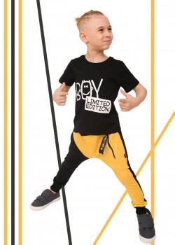 Bavlnené detské BAGGY nohavice BLACK/YELLOW