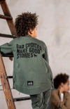 Chlapčenský predlžený bomber kabát GREEN