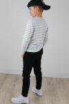 Chlapčenské tričko s dlhým rukávom pásik   white/grey