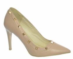 OLIVIA shoes pudrové vybíjané lodičky z kože DLO024