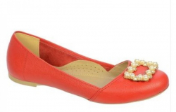 OLIVIA shoes červené kožené baleríny DBA030