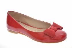 Kožené dievčenské balerínky  RENBUT 33-4357 červené