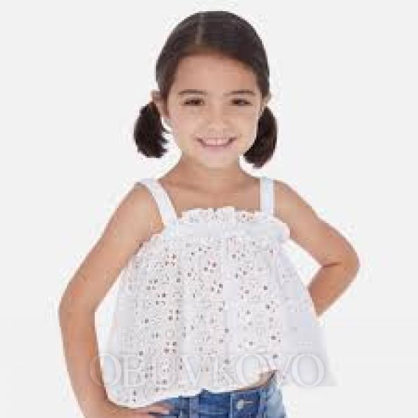 MAYORAL dievčenský čipkovaný top 3185-078 white