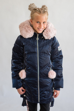 Metalická zimná dievčenská bunda
