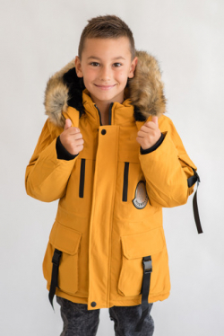 Žltá zimná bunda s kapucňou pre chlapcov