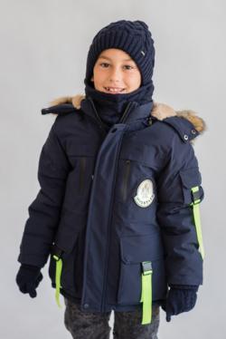 Tmavomodrá zimná bunda s kapucňou