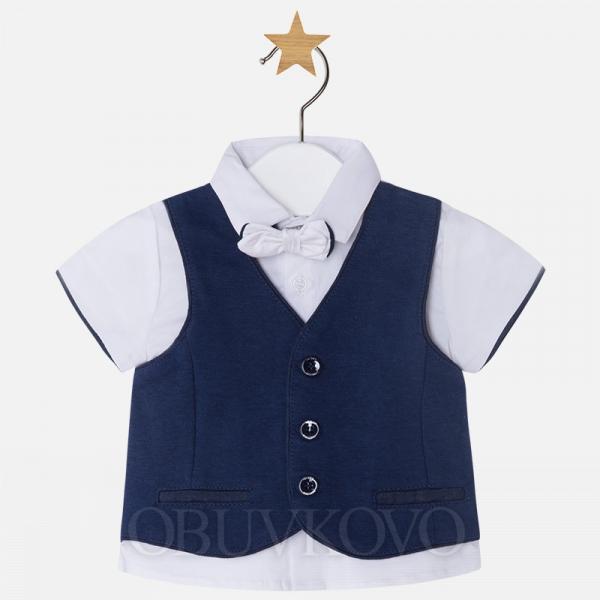 MAYORAL chlapčenská košeľa s vestou 1110-040 navy