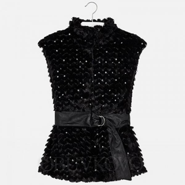 Dievčenská kožušinová vesta s opaskom 7413-066 black