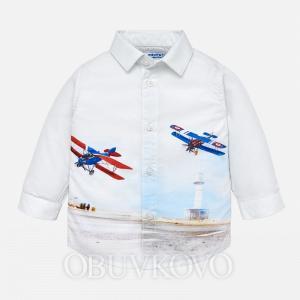 Chlapčenská košeľa s lietadlami MAYORAL 2138-024 white