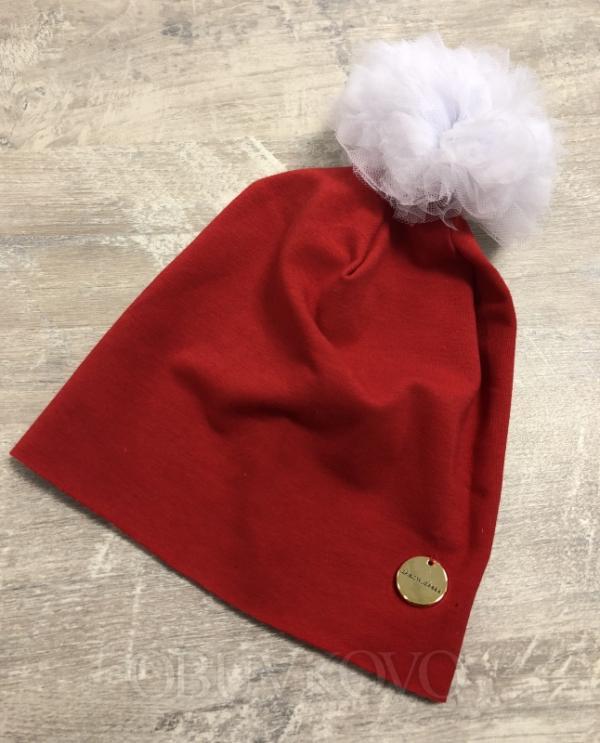 Bavlnená dievčenská čiapka s tylovým brmbolcom 10110 red/white
