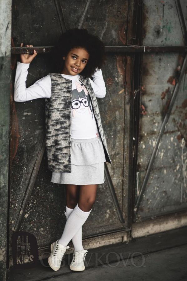 Dievčenská vesta sivoružová MM 206 grey