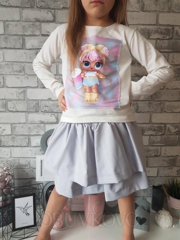 Dievčenská bavlnená sukňa LOL MM 574 grey