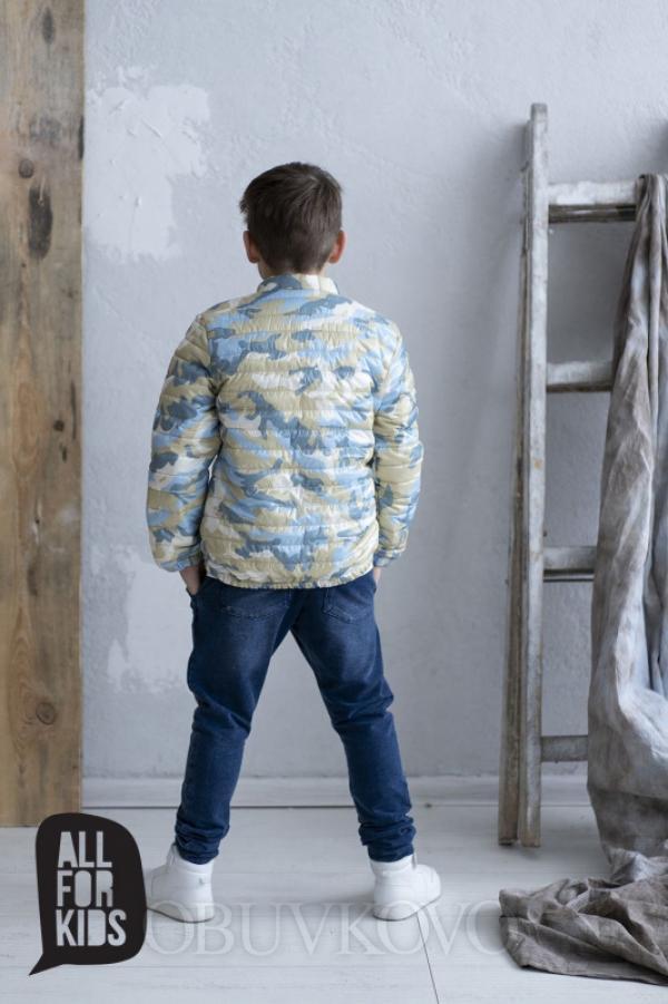 Chlapčenský prechodný prešívaný kabát MM 268 blue army