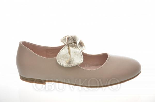 Elegantné dievčenské balerínky s lesklou mašľou DM317-2 beige