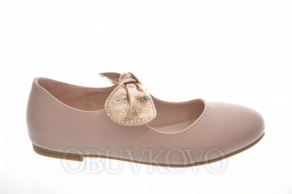 Elegantné dievčenské balerínky s lesklou mašľou DM317-pink