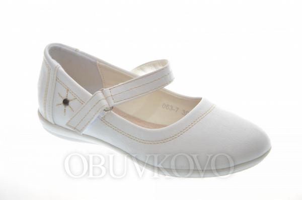Elegantné dievčenské balerínky 063-7 white