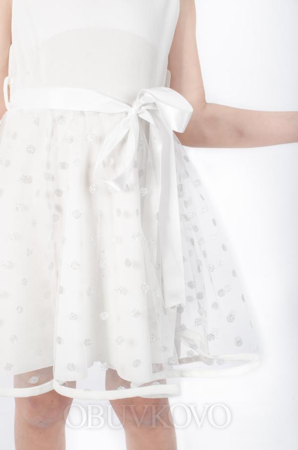 Elegantné dievčenské šaty bledožlté MM 521 white
