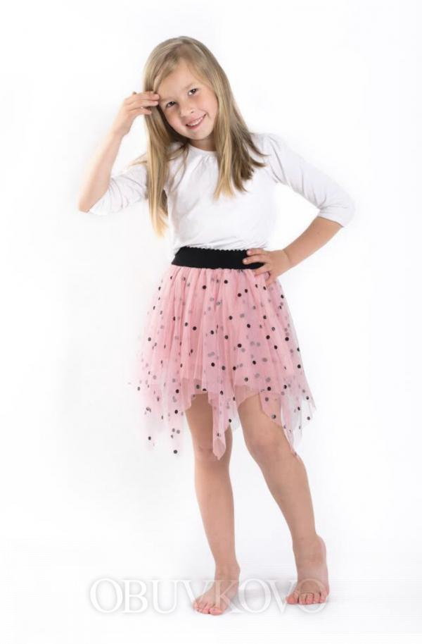 Dievčenská tylová sukňa bodkovaná  MM 504 ružová