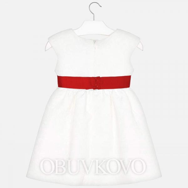MAYORAL dievčenské šaty s kvetovaným opaskom 3919-924 White