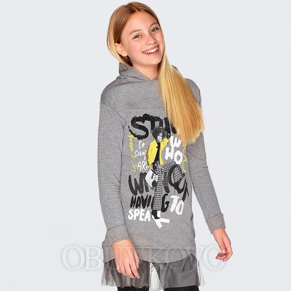 Sivá dievčenská tunika s tylom MAYORAL 7942-061 Steel