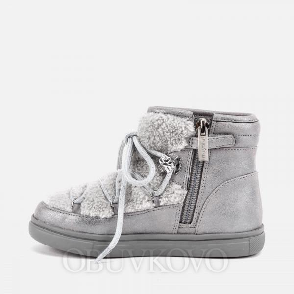 MAYORAL dievčenské čižmy s kožušinou 44037-084 Silver