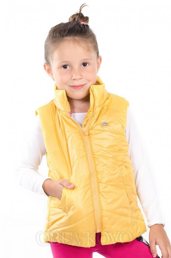Prechodná vatovaná dievčenská vesta žltá MM 210 yellow