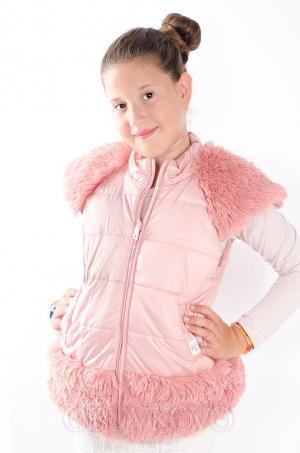 Dievčenská vesta s kožušinovými doplnkami ružová MM 211 pink