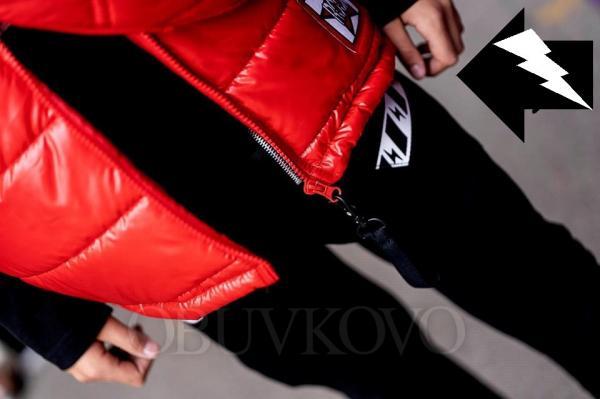 Chlapčenská prechodná vesta s kapucňou červená