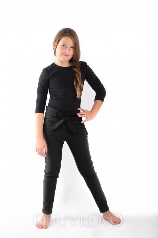 Dievčenské bavlnené nohavice s mašľou MM 719 black