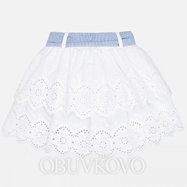 MAYORAL biela čipkovaná sukňa s mašľou