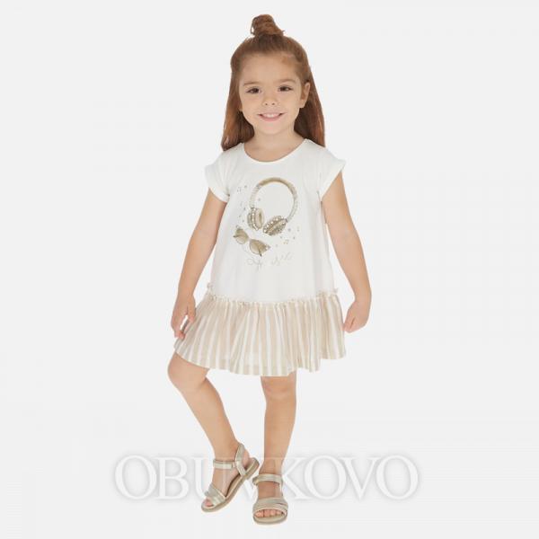 MAYORAL bavlnené šaty s potlačou 3948-028 sand