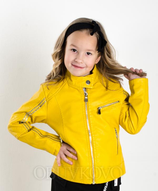 Dievčenský kožený kabát žltý MM 291 yellow