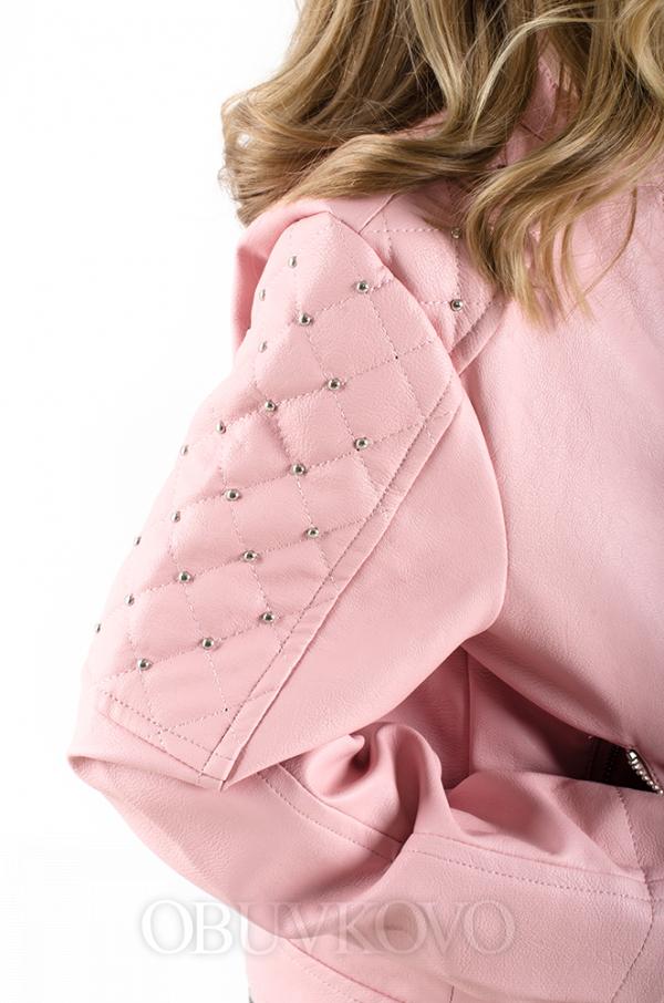 Dievčenský kožený kabát ružový MM 290 pink
