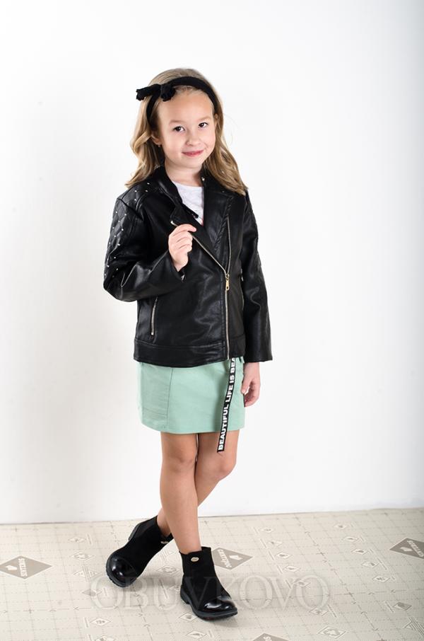 Dievčenský kožený kabát čierny MM 290 black