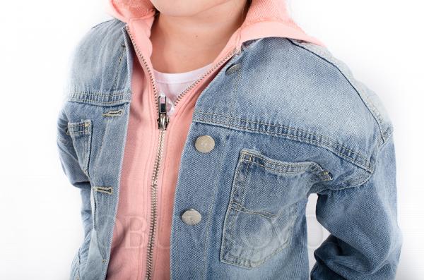Dievčenský rifľový kabát s bavlneným vkladom MM 254 pink jeans