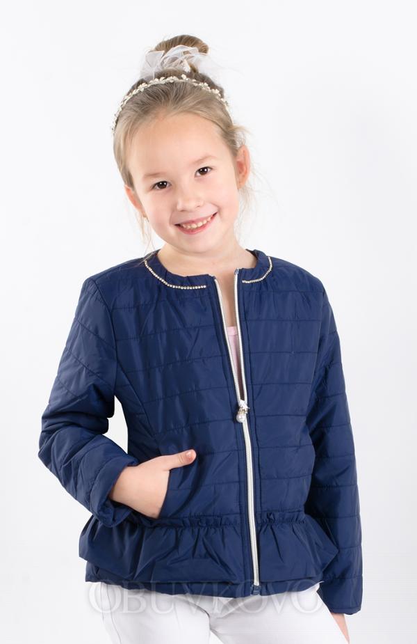 Dievčenský prešívaný jarný kabát modrý MM 231dark blue