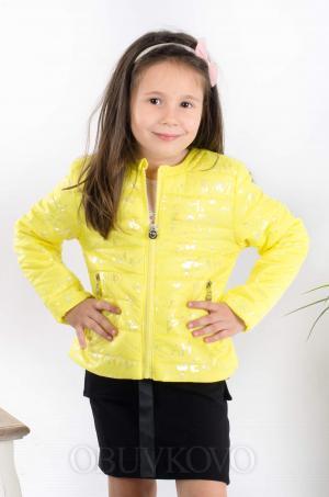 Dievčenský prešívaný jarný kabát žltý MM 230 yellow