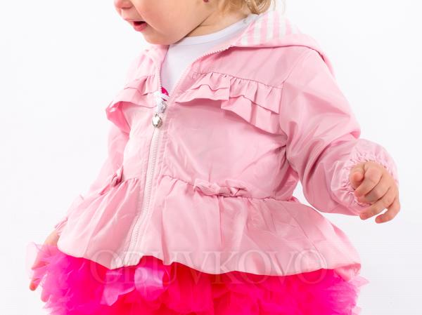 Prechodný kabát s volánikmi MM 233 ružový
