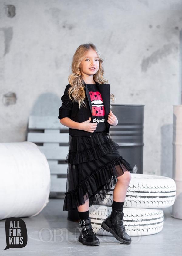 Dievčenská čierna asymetrická tylová sukňa MM 541 black