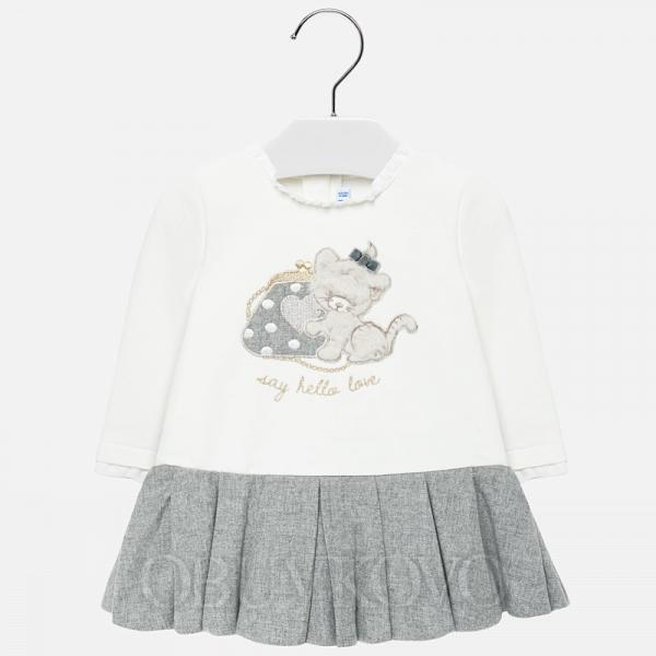 MAYORAL dievčenské šaty s mačičkou 2912-028 grey