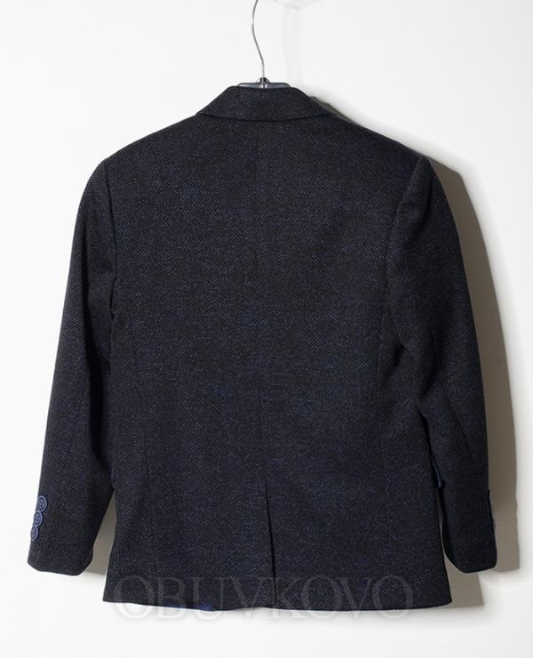 Tmavé chlapčenské sako s modrou aplikáciou 20185