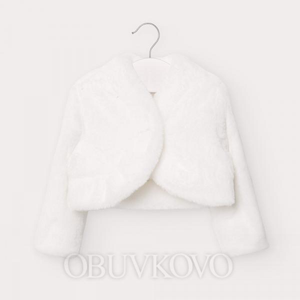 MAYORAL dievčenský kožušinový kabátik 2403-001 nat