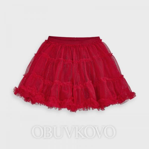 MAYORAL tylová sukňa s perleťou 4953-095 red