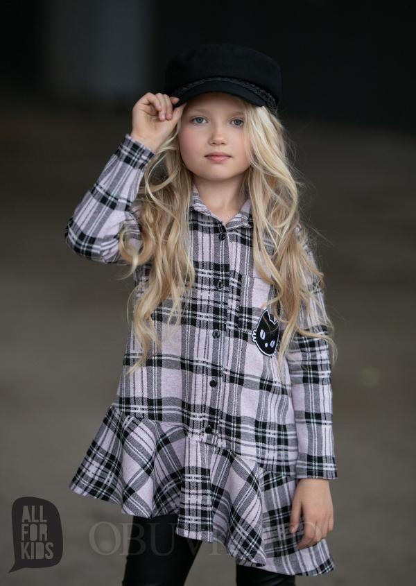 Dievčenské bavlnená košeľa s volánom